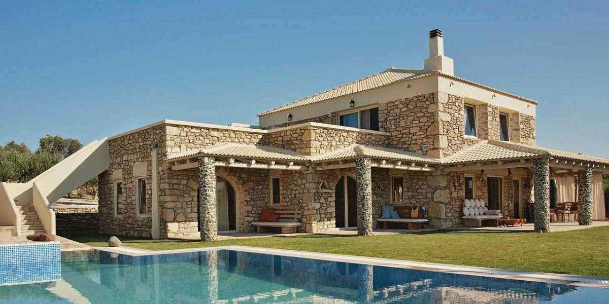 Sunny interiors of stone villa in Spain