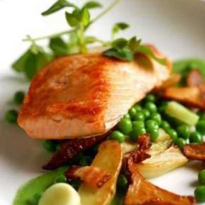 Seared Salmon with Bacon and Spring Peas Profile Picture